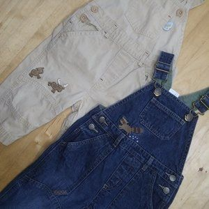 Set of 2 Embroidered Overalls Boys 6-12M Animals